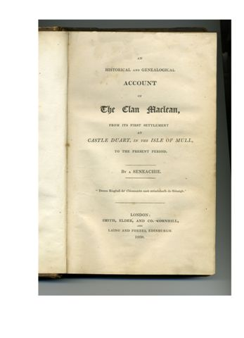 'The Clan Maclean' written by a 'Seneachie'